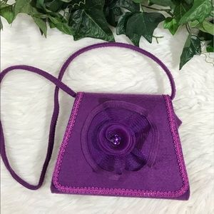Vintage Purple Felt Shoulder Crossbody Embellished